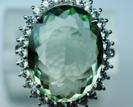 92.5 Stylish Green Amethyst Silver Ring With CZ 0002