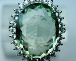 92.5 Stylish Green Amethyst Silver Ring With CZ