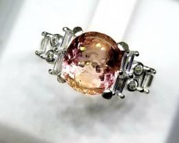 16.80ct Natural Pink Tourmaline 925 Sterling Ring