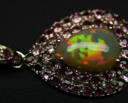 Natural Opal 17.45 Ct Platinum Solid 92.5 Sterling Silver Pendant