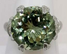 Prasiolite Solitaire Ring 10.00cts.