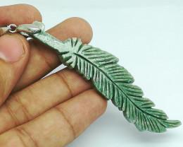 Natural Green Serpentine Leaf Crystal Pendant 76 Cts