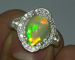 Natural Pear Fire Opal 925 Sterling Silver Ring