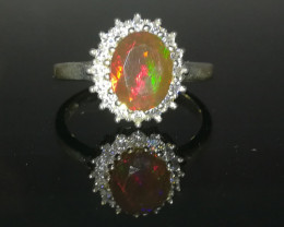 Natural Fire Opal 15.85 Carats 925 Silver Ring