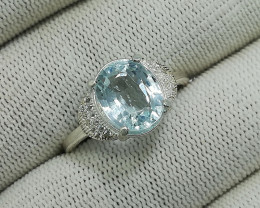 Natural Blue Aquamarine 16.75 Carats 925 Silver Ring