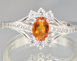 Natural Orange Sapphire, CZ and 925 Silver Ring
