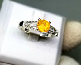 Natural Spessartite Garnet with CZ in Silver 925 Ring