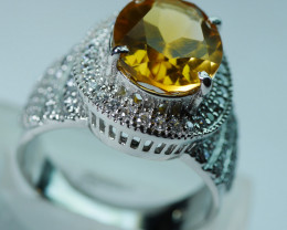 GOLDEN COLOR NATURAL CITRINE 92.5  STERLING SILVER RING ( 8 US ) Z44