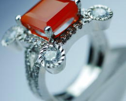 92.5 Solid Silver Orange Corolin Ring With CZ 57.00 Crt