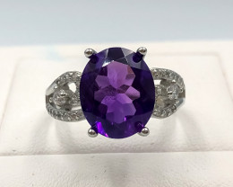 20.65 Crt Natural Amethyst With Cubic Zirconia 925 Silver Ring