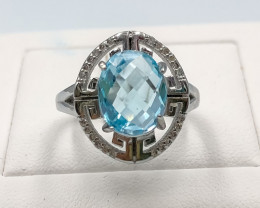 23.05 Crt Natural Topaz With Cubic Zirconia 925 Silver Ring