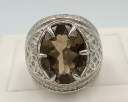 50.50 Crt Natural Smokey Quartz With Cubic Zirconia 925 Silver Ring