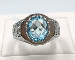 43.55 Crt Natural Topaz With Cubic Zirconia 925 Silver Ring