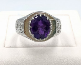 41.40 Crt Natural Amethyst With Cubic Zirconia 925 Silver Ring