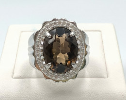 62.20 Crt Natural Smokey Quartz With Cubic Zirconia 925 Silver Ring