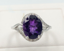 17.50 Crt Natural Amethyst With Cubic Zirconia 925 Silver Ring