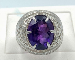 53.05 Crt Natural Ameth With Cubic Zirconia 925 Silver Ring