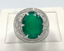 48.10 Crt Natural  Green Agate With Cubic Zirconia 925 Silver Ring
