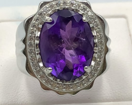 62.75 Crt Natural Amethyst With Cubic Zirconia 925 Silver Ring