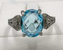 21.05 Crt Natural Topaz With Cubic Zirconia 925 Silver Ring