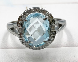 19.95 Crt Natural Topaz With Cubic Zirconia 925 Silver Ring