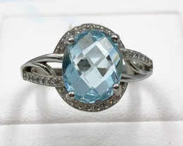 21.15 Crt Natural Topaz With Cubic Zirconia 925 Silver Ring