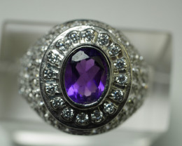 92.5 Beautiful Amethyst With Solid Silver And CZ 28.50 Crt.