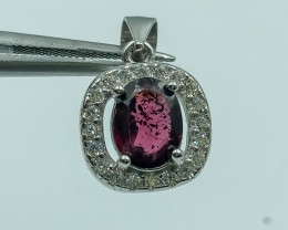 14.70 Crt Natural Garnet with Cubic Zircon 925 Silver Pendant