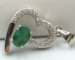 14.00 Crt Natural Emerald with Cubic Zircon 925 Silver Pendant