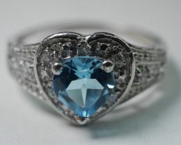 92.5 Swiss Blue Topaz With Solid Silver Ring Cz 11.35 Crt