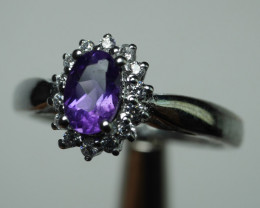 92.5. Beautiful Amethyst With Solid Silver Cz  11.25  Crt