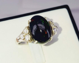 Natural Opal Ring with CZ.