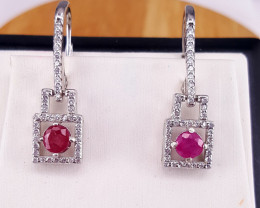 Natural Ruby earring with CZ.