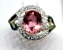 Seductive Pink Tourmaline with CZ in Silver 925 Ring
