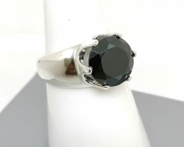 Natural Black Diamond Solitaire Ring 4.40cts.