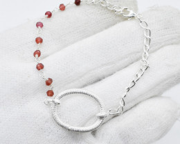 GARNET BRACELET NATURAL GEM 925 STERLING SILVER JB106