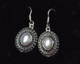 PEARL EARRINGS 925 STERLING SILVER NATURAL GEMSTONE JE397
