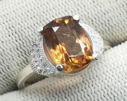 Natural Champagne Topaz 925 Sterling Silver Ring