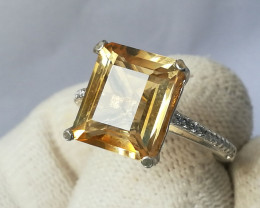Natural Yellow Citrine 925 Sterling Silver Ring