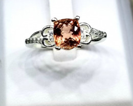Natural Tourmaline With CZ in Silver 925 Ring