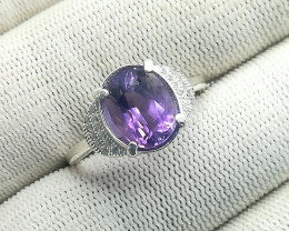 Natural Purple Amethyst 15.40 Carats 925 Silver CZ Ring