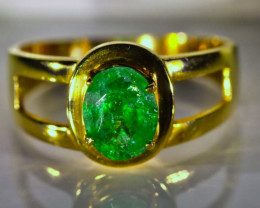 Emerald 1.20ct Solid 21K Yellow Gold Ring