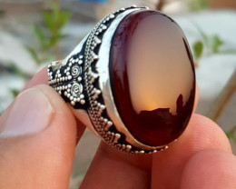 Hand crafted Natural yamani Agate Men Ring.