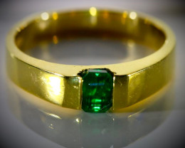 Emerald .50ct Solid 18K Yellow Gold Ring