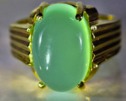 Green Cats Eye Calcite 11.25ct Solid 18K Yellow Gold Ring