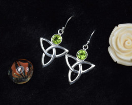 PERIDOT EARRINGS 925 STERLING SILVER NATURAL GEMSTONE JE307
