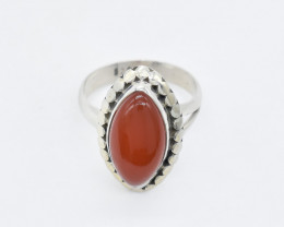 CARNELIAN RING 925 STERLING SILVER NATURAL GEMSTONE GR381