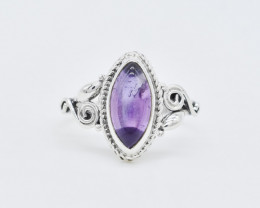 AMETHYST RING 925 STERLING SILVER NATURAL GEMSTONE GR159