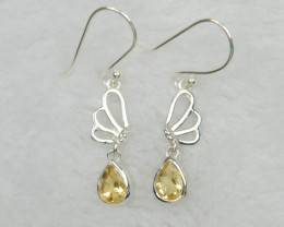 CITRINE EARRINGS 925 STERLING SILVER NATURAL GEMSTONE JE619