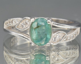 Natural AA Emerald, CZ and 925 Silver Ring